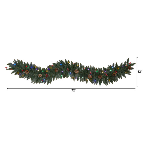 6 Snow Dusted Artificial Christmas Garland with 50 Multicolored LED Lights Berries and Pinecones - SKU #4463 - 1