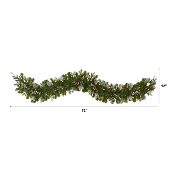 6 Snow Tipped Artificial Christmas Garland with 50 Warm White LED Lights and Berries - SKU #4464 - 1