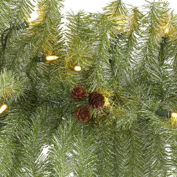 6 Christmas Pine Artificial Garland with 50 Warm White LED Lights and Pine Cones - SKU #4465 - 2
