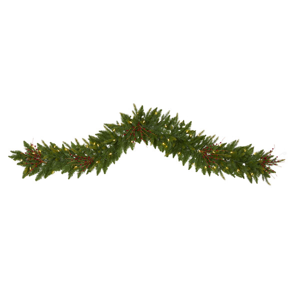 6 Christmas Pine Artificial Garland with 50 Warm White LED Lights and Berries - SKU #4466