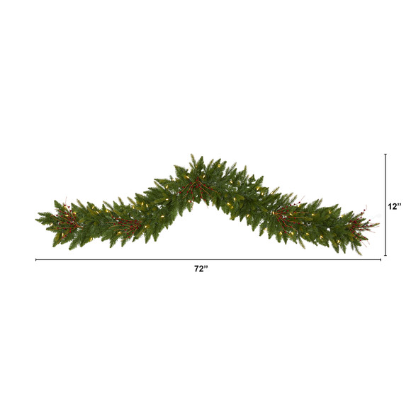 6 Christmas Pine Artificial Garland with 50 Warm White LED Lights and Berries - SKU #4466 - 1