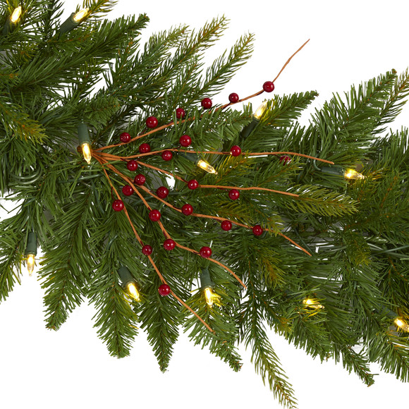 6 Christmas Pine Artificial Garland with 50 Warm White LED Lights and Berries - SKU #4466 - 2