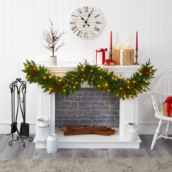 6 Christmas Pine Artificial Garland with 50 Warm White LED Lights and Berries - SKU #4466 - 3