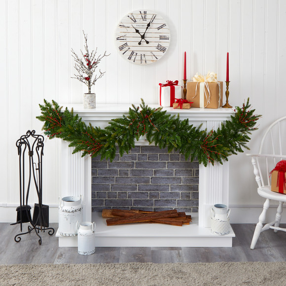 6 Christmas Pine Artificial Garland with 50 Warm White LED Lights and Berries - SKU #4466 - 4