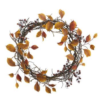 19 Harvest Leaf Berries and Twig Artificial Wreath - SKU #4471