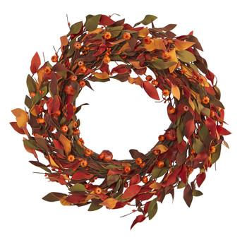 20 Harvest Leaf and Mini Pumpkin Artificial Wreath - SKU #4472