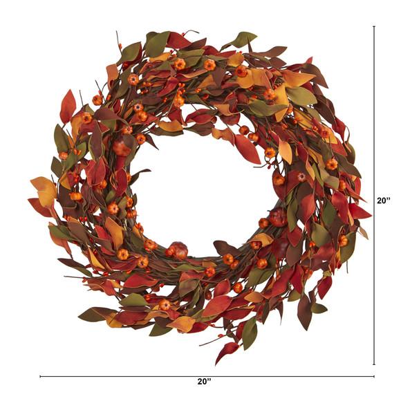 20 Harvest Leaf and Mini Pumpkin Artificial Wreath - SKU #4472 - 1