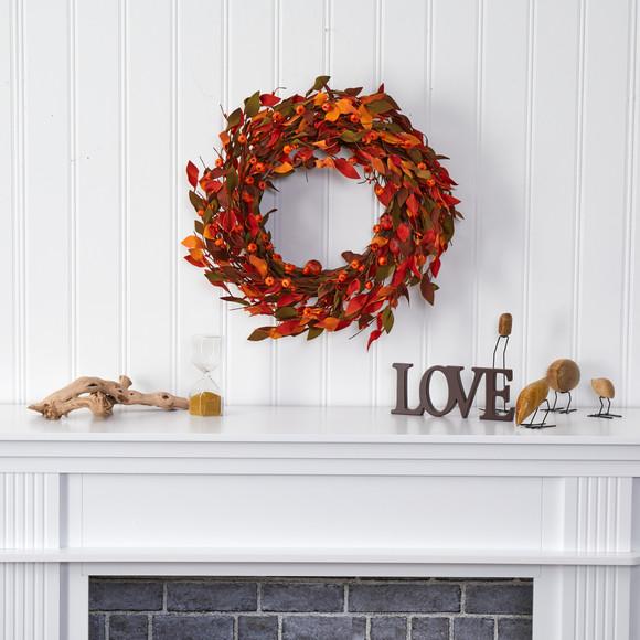 20 Harvest Leaf and Mini Pumpkin Artificial Wreath - SKU #4472 - 2