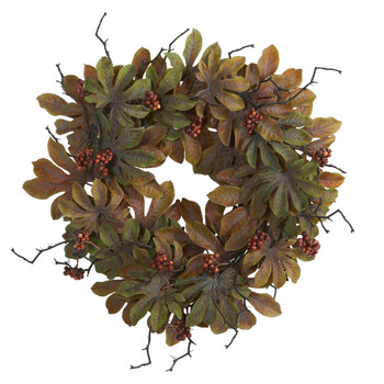 24 Fatsia with Berries Autumn Artificial Wreath - SKU #4474