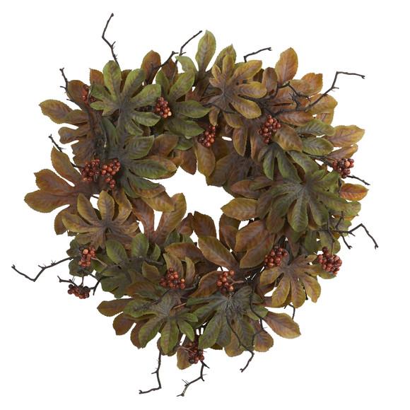 24 Fatsia with Berries Autumn Artificial Wreath - SKU #4474