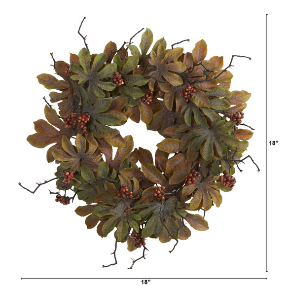 24 Fatsia with Berries Autumn Artificial Wreath - SKU #4474 - 1