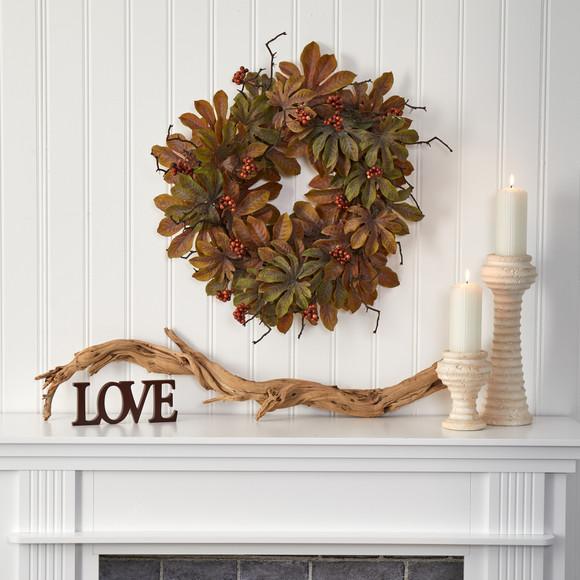 24 Fatsia with Berries Autumn Artificial Wreath - SKU #4474 - 2