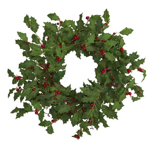 24 Holly Berry Artificial Wreath - SKU #4475