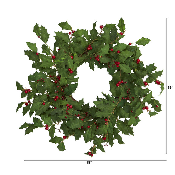 24 Holly Berry Artificial Wreath - SKU #4475 - 1