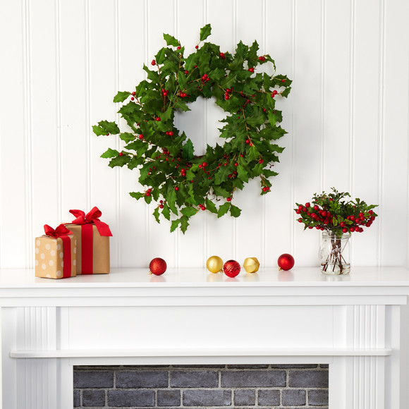 24 Holly Berry Artificial Wreath - SKU #4475 - 2
