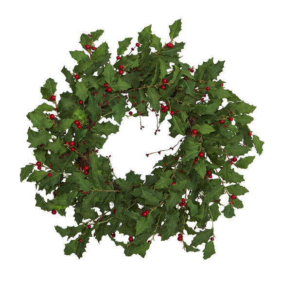 28 Holly Berry Artificial Wreath - SKU #4476