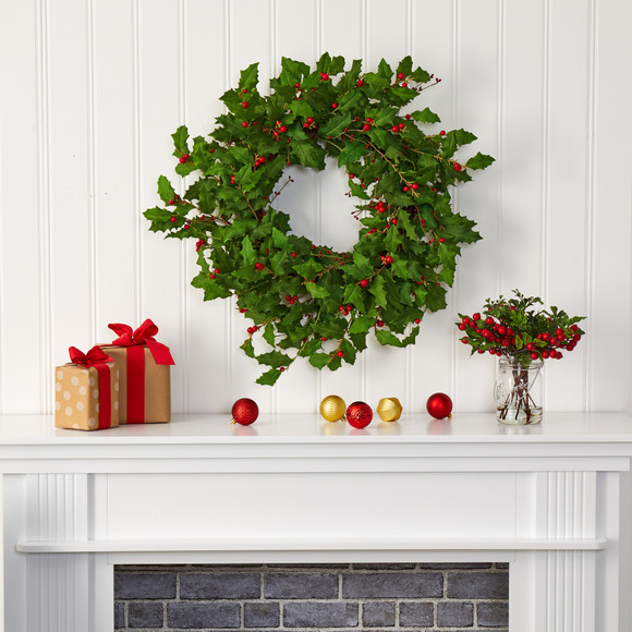 28 Holly Berry Artificial Wreath - SKU #4476 - 2