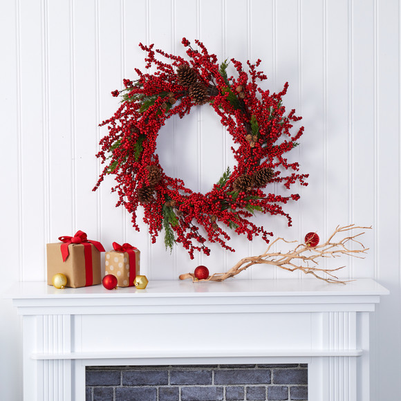 34 Cypress Artificial Wreath with Berries and Pine Cones - SKU #4479 - 2
