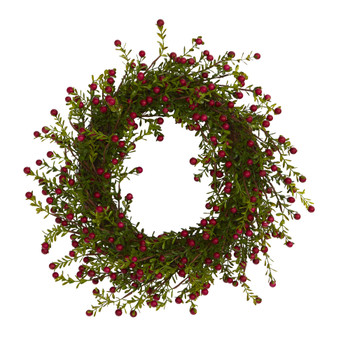 16 Boxwood and Berries Artificial Wreath - SKU #4483