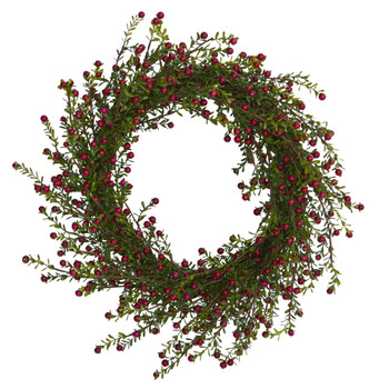 20 Boxwood and Berries Artificial Wreath - SKU #4484