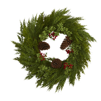 26 Cypress with Berries and Pine Cones Artificial Wreath - SKU #4485