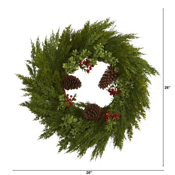 26 Cypress with Berries and Pine Cones Artificial Wreath - SKU #4485 - 1