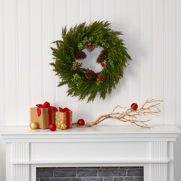 26 Cypress with Berries and Pine Cones Artificial Wreath - SKU #4485 - 2