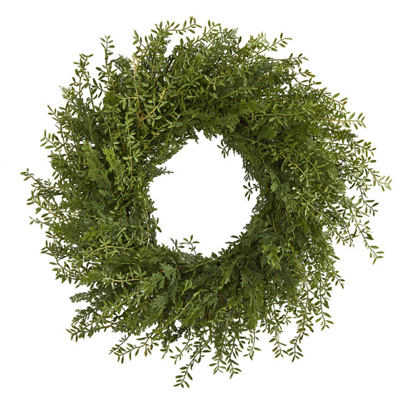 27 Mixed Grass Artificial Wreath - SKU #4486