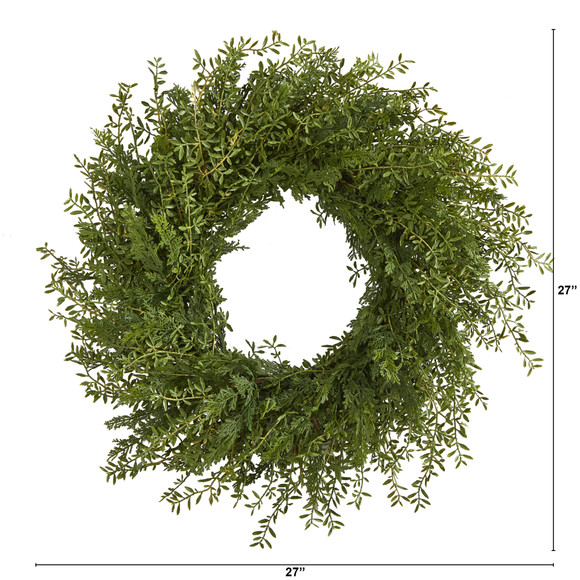 27 Mixed Grass Artificial Wreath - SKU #4486 - 1