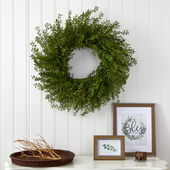 27 Mixed Grass Artificial Wreath - SKU #4486 - 2