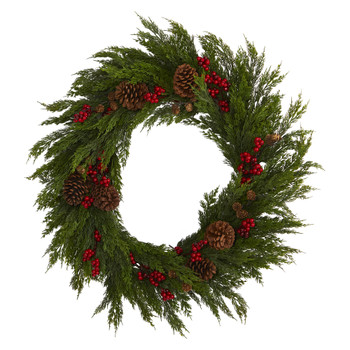 32 Cypress with Berries and Pine Cones Artificial Wreath - SKU #4487