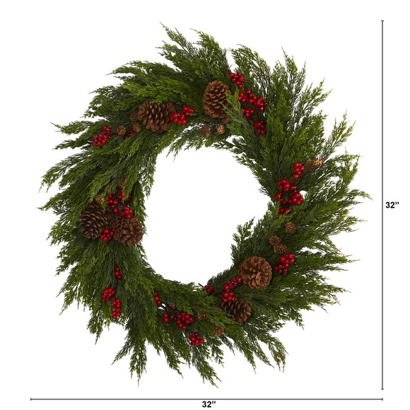 32 Cypress with Berries and Pine Cones Artificial Wreath - SKU #4487 - 1