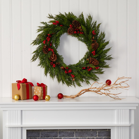 32 Cypress with Berries and Pine Cones Artificial Wreath - SKU #4487 - 2