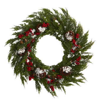 28 Frosted Cypress with Berries and Pine Cones Artificial Wreath - SKU #4488
