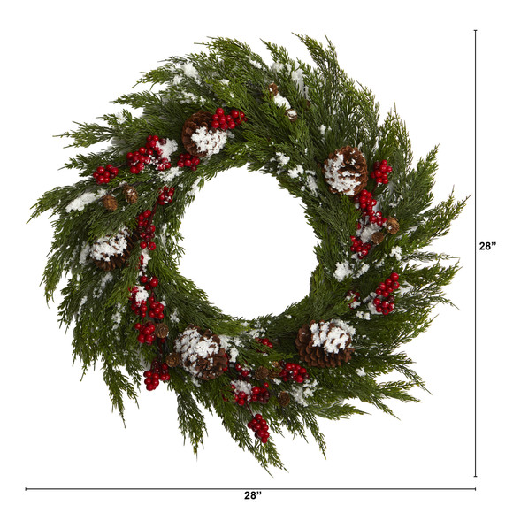 28 Frosted Cypress with Berries and Pine Cones Artificial Wreath - SKU #4488 - 1
