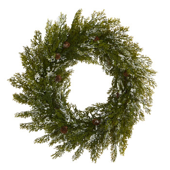 20 Snowed Artificial Cedar Wreath with Pine Cones - SKU #4489