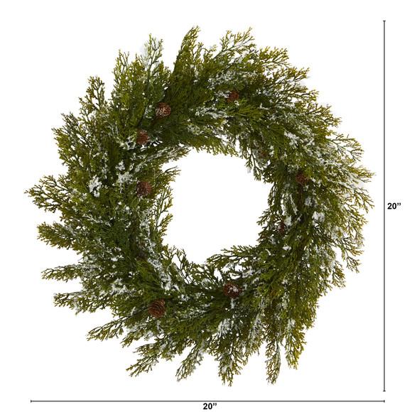 20 Snowed Artificial Cedar Wreath with Pine Cones - SKU #4489 - 1