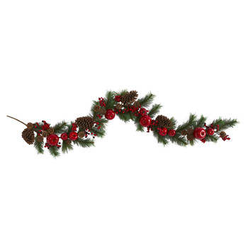 6 Apple Berries and Pinecone Artificial Garland - SKU #4490