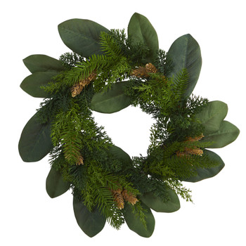 16 Magnolia Leaf and Mixed Pine Artificial Wreath with Pine Cones - SKU #4491