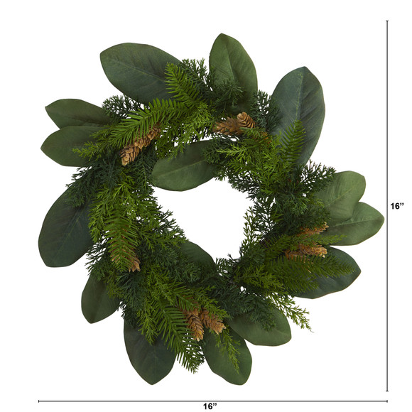 16 Magnolia Leaf and Mixed Pine Artificial Wreath with Pine Cones - SKU #4491 - 1