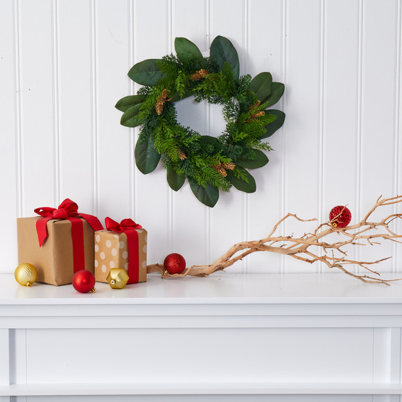 16 Magnolia Leaf and Mixed Pine Artificial Wreath with Pine Cones - SKU #4491 - 2