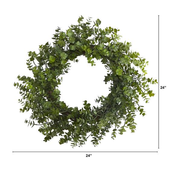 24 Eucalyptus Artificial Wreath - SKU #4492 - 1