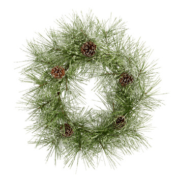 24 Iced Pine Artificial Wreath with Pine Cones - SKU #4493