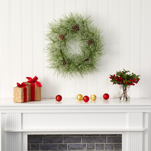 24 Iced Pine Artificial Wreath with Pine Cones - SKU #4493 - 2