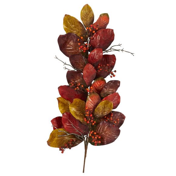36 Autumn Magnolia Leaf with Berries Artificial Tear Drop - SKU #4494