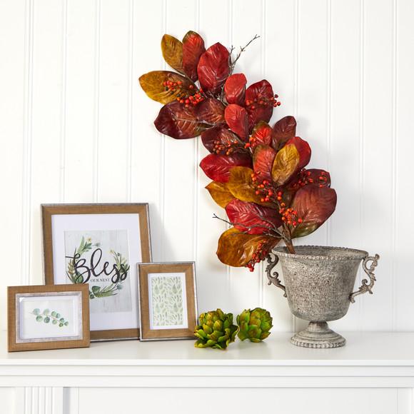 36 Autumn Magnolia Leaf with Berries Artificial Tear Drop - SKU #4494 - 2