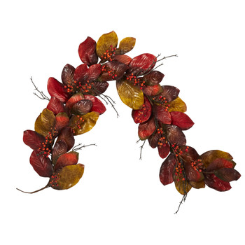 6 Autumn Magnolia Leaf with Berries Artificial Garland - SKU #4495