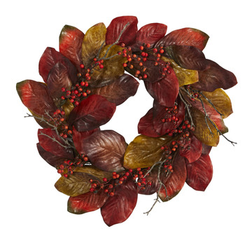 24 Harvest Magnolia Leaf and Berries Artificial Wreath - SKU #4496
