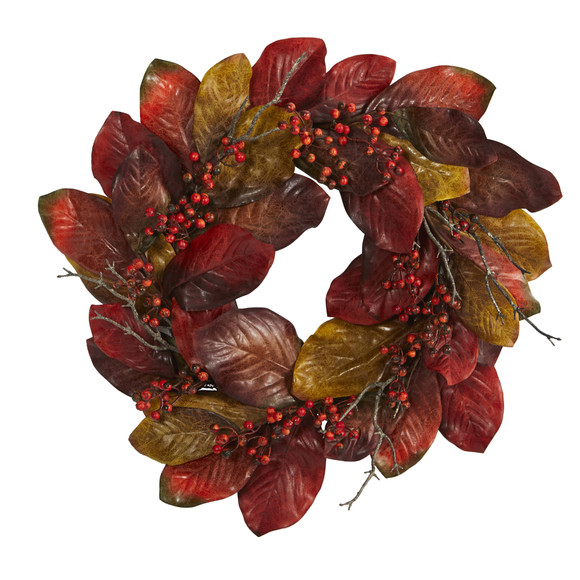 24 Harvest Magnolia Leaf and Berries Artificial Wreath - SKU #4496