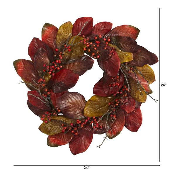 24 Harvest Magnolia Leaf and Berries Artificial Wreath - SKU #4496 - 1